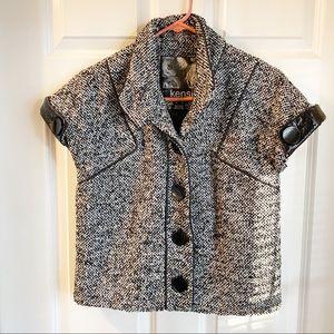 Kensie short sleeve tweed blazer black and white M